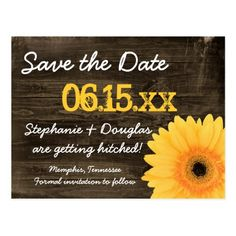Rustic Yellow Daisy Wood Save The Date Postcards