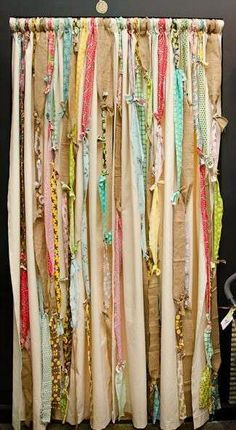 DIY: Fabric Strip Curtains -this could either look shabby chic or like complete crap. Fabric Strip Curtains, Diy Curtains, Fabric Strips, Curtain Fabric, Ribbon Curtain, Shower Curtains, Bohemian Curtains, Closet Curtains, Cafe Curtains
