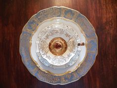 Blue and Gold Mismatched Vintage Plate Set  Mix by DishUponAStar