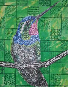 Neo-impressionism hummingbird out of watercolors and sharpies