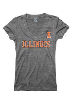 Illinois Womens Grey Straightaway V-Neck