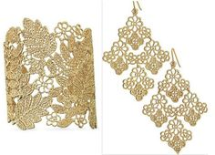 Stella and Dot Chantilly Lace Cuff and Earrings...