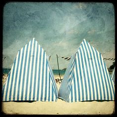 """Famous beach tents in Dinard (Brittany)"""