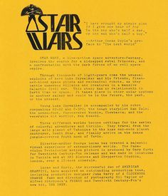 Info sheet for Star Wars from the 1976 Comic-Con.