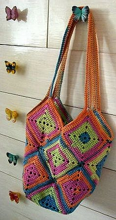 crochet pattern - tropical granny tote