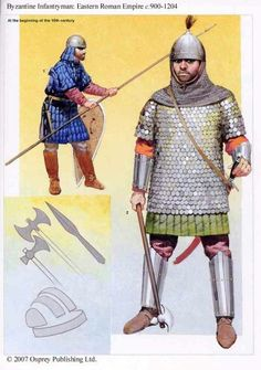 Byzantine foot soldier Byzantine Army, Knight Armor, Military History, Military Art, Roman Empire, Varangian Guard, Historical Art, Historical Pictures, Military Costumes