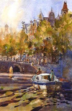 Canal scene in Amsterdam by Iain Stewart