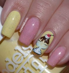 Lucy's Stash: Ice Cream Sundae nail art manicure with tutorial  http://www.lucysstash.com/2012/06/ice-cream-sundae-nail-art-manicure-with.html