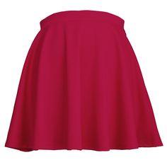 ** New ** JC Womens Elastic Waist Mini Above Knee Flare Pleated Skirt  Color- Red   #Red #Miniskirt #flare
