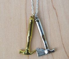 Gold Hammer & Axe Necklace - Featured Goods Uncovet