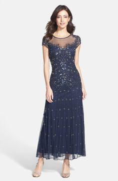 Pisarro Nights Illusion Yoke Beaded Mesh Dress $218.00   Details on fashiontheta.com