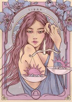 Arte Libra, Libra Art, Zodiac Art, Libra Zodiac, Pretty Art, Cute Art, Art Sketches, Art Drawings, Motifs Art Nouveau