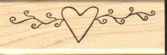 Primitive Heart Swag Rubber Stamp