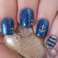 Holographic sapphire blue nails get decked out with sparkling champagne anchors, dots and stripes for an ultra glam nautical-themed manicure. See the how-tos and must-haves to DIY here.