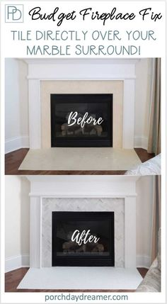 Looking for a budget friendly way to update your fireplace surround? Here is an affordable DIY update tiling directly over the marble surround for a whole new look. remodel tile How-To Tile Over a Marble Fireplace Surround Granite Fireplace, Marble Fireplace Surround, Fireplace Update, Home Fireplace, Faux Fireplace, Marble Fireplaces, Fireplace Remodel, Fireplace Surrounds, Fireplace Design