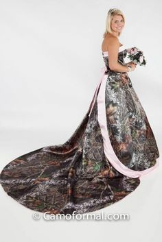 pink camo wedding dresses | Camo Wedding Dress Style 3055 Full Camo with Detachable Train - Camo ...