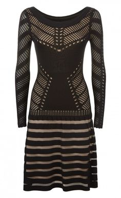 Alysia Knit Dress -          A flirty yet effortless choice for daytime, the black Midi Alysia Knit Dress is a Temperley London staple brought up to date. Distinctly versatile, this alluring fit-and-flare long sleeve knitted dress is a blend of fine mesh and ladder pointelle with a sheer stripe skirt.  - Composition: 75% Viscose 25% Nylon, Lining: 100% Rayon - Fit: Fit And Flare Mini Dress With Slightly Dropped Waist - Lining: Lined - Length: Above The Knee - Wash Care Instructions: Dry…