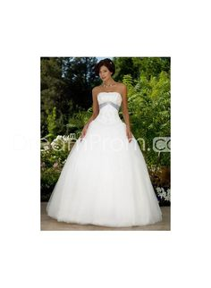 Elegant Strapless Ball Gown Sweeping Sash Organza Wedding Dress WD-0291