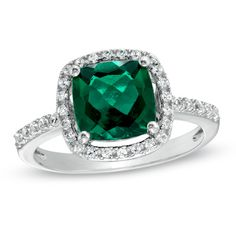 8.0mm Cushion-Cut Lab-Created Emerald and White Sapphire Frame Ring in Sterling Silver - Size 7 - Zales