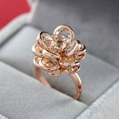Fashion Jewelry Cubic Zirconia Rose Gold Color Austrian Crystal Rings Flower Rings