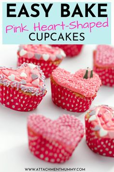 Easy Bake Pink Heart-Shaped Cupcakes Whether it is for Mother's Day or Valentine's Day, these easy to bake pink heart-shaped cupcakes make great DIY gifts! Learn how to bake these with your kids as a fun family activity at home to get started. #DIYMothersDayGift #PinkHeartShapedCupcakesRecipe