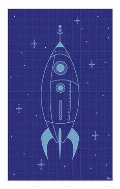 Print available on request-Rocket Blueprint Poster by Rani Bean - Space / Boys Room Illustration by Rani Bean
