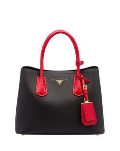 V2WHF Prada Saffiano Cuir/Crocodile Double Tote Bag, Black/Red (Nero+Rosso)
