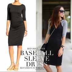 Baseball Sleeve Dress Refashion