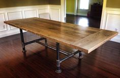 Reclaimed white oak Kitchen table made from a covered bridge located in Reading, Pa. This table has some history! The bridge was built in 1867 White Oak Kitchen, Rustic Kitchen, Cheap Kitchen, Kitchen Ideas, Country Kitchen, Kitchen Decor, Dining Room Table, Table And Chairs, Kitchen Tables