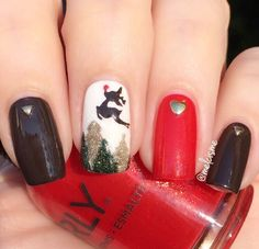 Adorable Rudolph mani by the fabulous @melcisme! Melissa is using our Reindeer Nail Decals found at snailvinyls.com