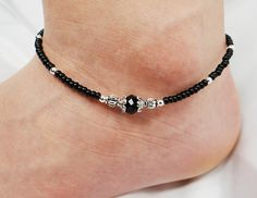 Anklet Ankle Bracelet Jet Black Beaded by ABeadApartJewelry, $10.00