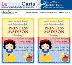 Snow White Personalised Invitation, Princess Birthday, Princess Party, Printable Party, DIY Party, Printable Invitation, Birthday Invitation...