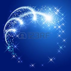 twisted star: Glowing fond bleu avec des étoiles sparkle frame neon rond Illustration