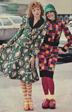 1973.~ Alley Cat by Betsey Johnson 70s vintage fashion novelty print tea pot dress green suit jacket skirt pink black squares dress hat shoes does 40s looks