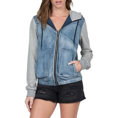 Volcom 'Sea Enemy' Hooded Denim Jacket ($70) ❤ liked on Polyvore featuring outerwear, jackets, heather grey, windcheater jacket, hooded denim jacket, hooded windbreaker jacket, volcom jacket and windbreaker jacket