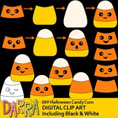 Clip art for Halloween Activities. DIY Halloween candy corn clipart set is so much fun! Make your own candy corn with various face expression. Great for making games and other activities. Blank candy corn is also included. Thus, kids can also draw the face.