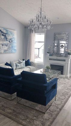 #LeatherLivingRoomSet Blue Living Room Decor, Glam Living Room, Home And Living, Living Room Designs, Small Living, Navy Blue And Grey Living Room, Cozy Living, Blue Home Decor, Modern Living Room Furniture