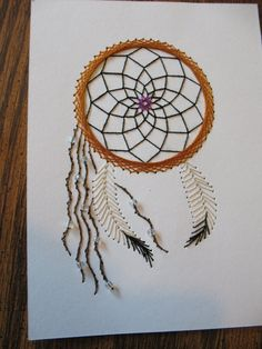 Stitched Dream Catcher Card by JLG1287 on Etsy, $3.50