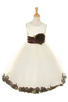 Cinderella CoutureIvory satin tulle dress with exchangeable sash brown 4 * More info could be found at the image url.