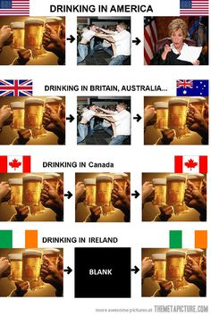What Drinking Looks Like in America, Australia, Britain, Canada, and Ireland Stupid Funny Memes, The Funny, Hilarious, Funny Stuff, Funny Drunk, Funny Humor, Hetalia, Funny Photos, Funny Images