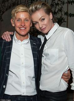No help needed: Ellen DeGeneres, 56, and Portia de Rossi, 41, attend Arianna Huffington's Thrive book party hosted by Victoria Jackson, Kathy Freston And Dean Ornish on Thursday in Beverly Hills