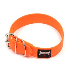 Smoochy Poochy Waterproof Collar's are so bright and pretty! They are perfect for swimming and Canadian made! Orange Leather, Dog Grooming, Bulldogs, Doggies, Collars, Alternative, Canada, Swimming, Bright