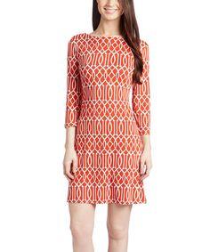 This Orange & White Three-Quarter Sleeve Shift Dress is perfect! #zulilyfinds