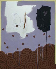 """andrea mattiello """"I love my dog""""  acrilico, grafite e collage su tela cm 80x100; 2013; andrea mattiello per olipet #contemporary #art #arte #artista #emergente #collage #cane #dog #love #olipet"""