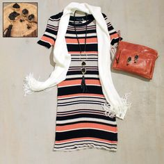 Sunday Brunch with the Gals Black, Milk and Pink Stripe Sweater Dress by Sanctuary $99, Fashion Statement Scarf $32, Black Leather Druzy Necklace by Isobel $178, Black Onyx Oval Earrings by Isobel $48, Brooklyn Crossbody Bag by Latico $152