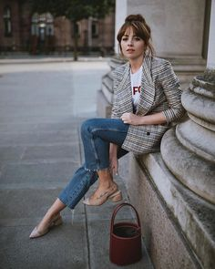 What to wear with denim and a plaid blazer