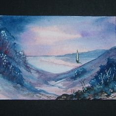 purple sailboat original art painting landscape ref 28 £4.00