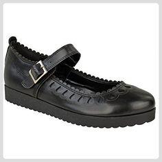 Neu Damen Schuhe Mädchen Schule Ausgeschnitten Kolbig Puppe Geek Works Pumpen Größe - Schwarz Kunstleder, 39 - Slipper und mokassins für frauen (*Partner-Link)