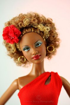 Barbie Basic Red Model 08 -2 | Belt is from Randall Craig. Flower in hair and earings are Fashion Royalty.