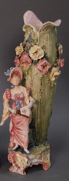 Majolica Figural Vase.